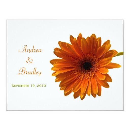Tarjeta anaranjada de la respuesta de la margarita invitación 10,8 x 13,9 cm