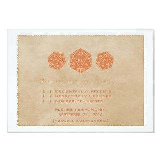 """Tarjeta anaranjada de la respuesta del invitación 3.5"""" x 5"""""""