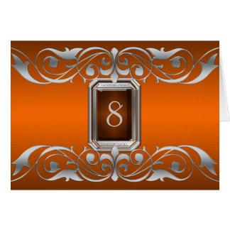 Tarjeta anaranjada de la tabla de la plata de la g