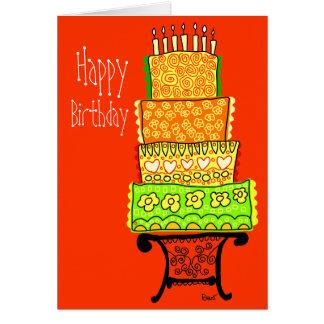 Tarjeta anaranjada de la torta del feliz cumpleaño