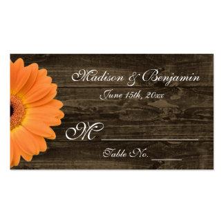 Tarjeta anaranjada de madera rústica del lugar del tarjetas de visita