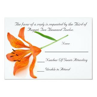Tarjeta anaranjada de RSVP del lirio Invitación 8,9 X 12,7 Cm