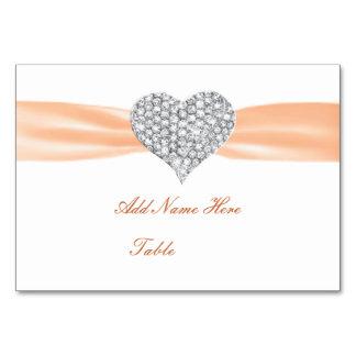 Tarjeta anaranjada del lugar de la tabla del boda