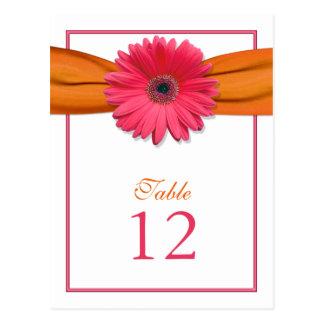 Tarjeta anaranjada del número de la tabla de la tarjetas postales