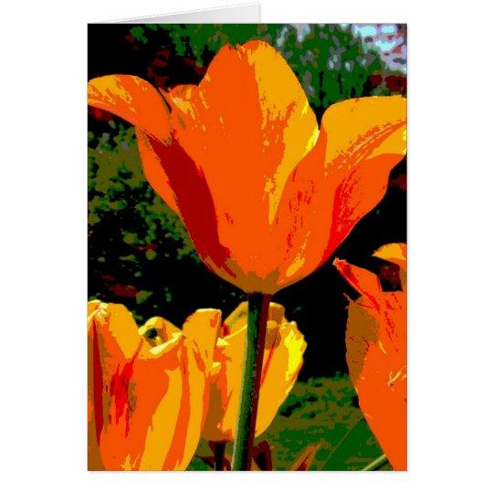 Tarjeta anaranjada del tulipán