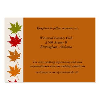 Tarjeta anaranjada elegante del recinto del boda d tarjetas de visita