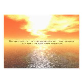 Tarjeta anaranjada inspirada de la puesta del sol tarjetas de visita grandes