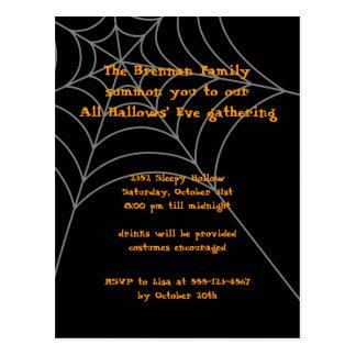 Tarjeta anaranjada negra de la invitación de postales