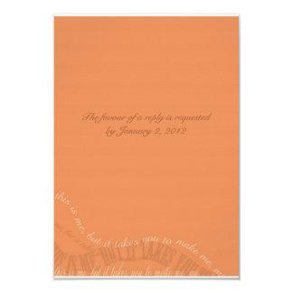 Tarjeta anaranjada quemada de RSVP Comunicados Personalizados