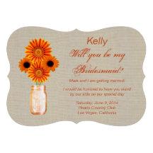 Tarjeta anaranjada rústica de la dama de honor del invitacion personal
