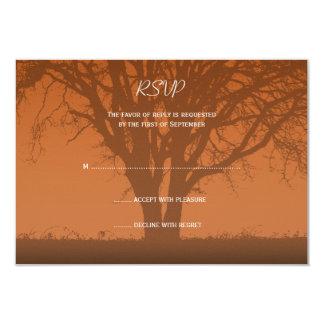 """Tarjeta anaranjada rústica de la respuesta del invitación 3.5"""" x 5"""""""