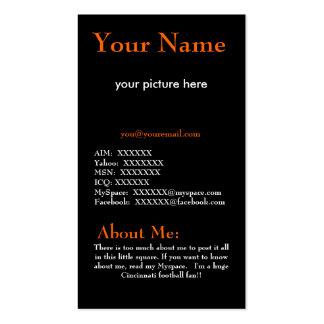 Tarjeta anaranjada y negra del perfil tarjetas de visita