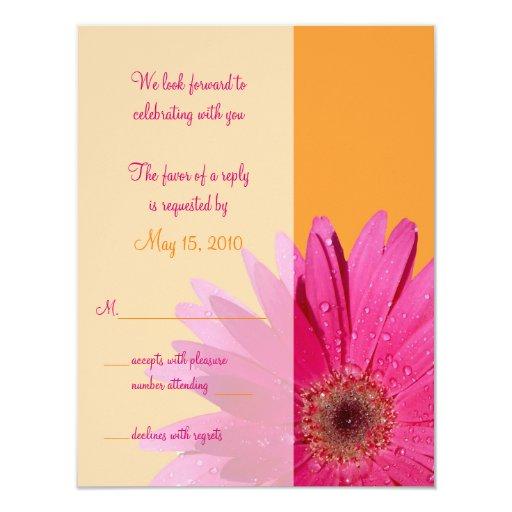 """Tarjeta anaranjada y rosada de la respuesta del invitación 4.25"""" x 5.5"""""""