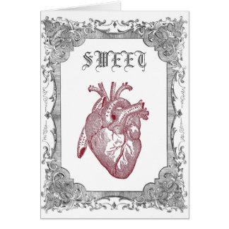 Tarjeta anatómica del amor del vintage