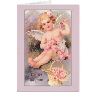 Tarjeta-Ángel del ángel del vintage con los rosas