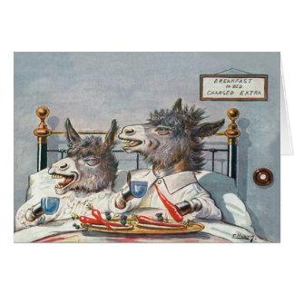Tarjeta animal del vintage divertido - burros en