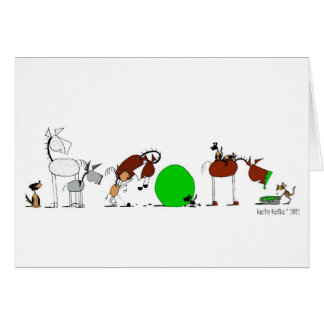 Tarjeta animal linda del dibujo animado