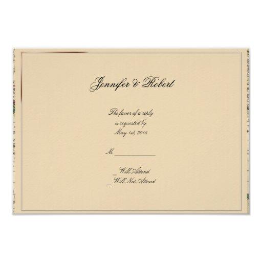 """Tarjeta antigua de la respuesta del boda del mapa invitación 3.5"""" x 5"""""""
