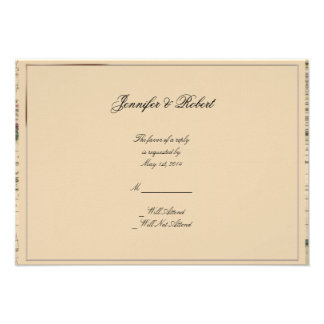 Tarjeta antigua de la respuesta del boda del mapa comunicados personalizados