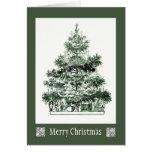 Tarjeta antigua del árbol de navidad