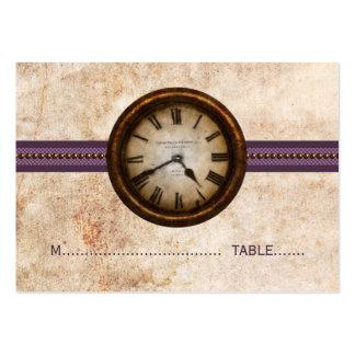 Tarjeta antigua del lugar del reloj, púrpura tarjetas de visita grandes