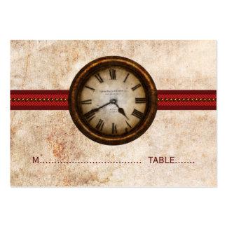 Tarjeta antigua del lugar del reloj, roja tarjetas de visita grandes