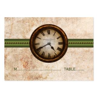 Tarjeta antigua del lugar del reloj, verde tarjetas de visita grandes