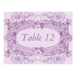 Tarjeta antigua del número de la tabla de la lila  tarjeta postal