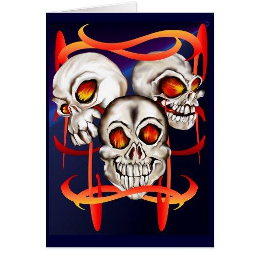 Tarjeta ardiente de tres cráneos
