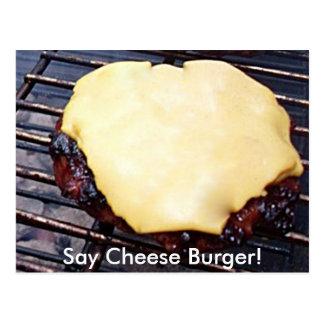 Tarjeta asada a la parrilla de la hamburguesa del postal