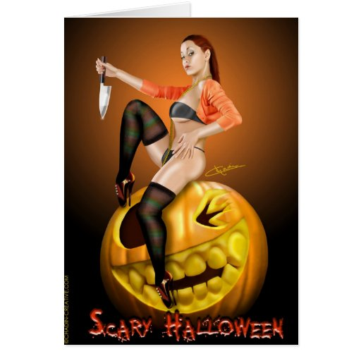 Tarjeta asustadiza de Halloween del chica de la ra