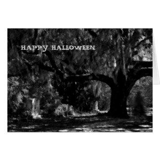 Tarjeta asustadiza del feliz Halloween del