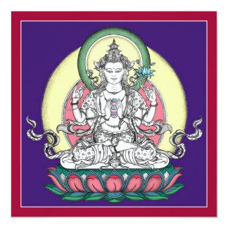 "TARJETA Avalokiteshvara/Chenrezig - cuadrado+sobre Invitación 5.25"" X 5.25"""