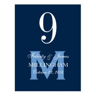 Tarjeta azul 9A del número de la tabla del boda Tarjetas Postales