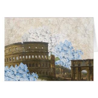 Tarjeta azul antigua del Hydrangea de Roma