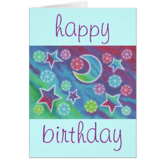 "Tarjeta azul brillante del ""feliz cumpleaños"" de l"
