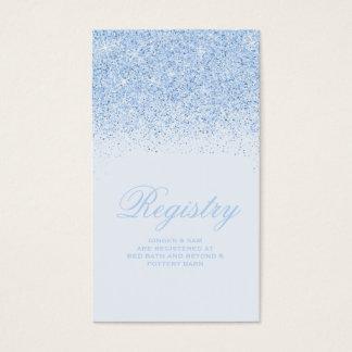 Tarjeta azul chispeante del registro del boda del tarjetas de visita