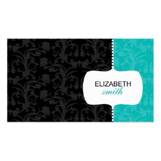 Tarjeta azul clara y negra del damasco caprichoso  tarjeta de visita