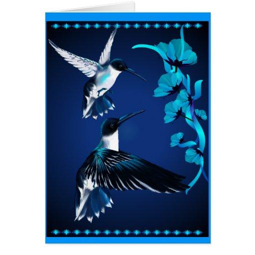 Tarjeta azul de dos colibríes