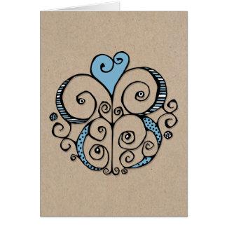 Tarjeta azul de Kraft del adorno del corazón