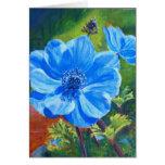 Tarjeta azul de la bella arte de Anemonies