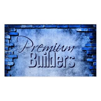 tarjeta azul de la construcción de ladrillos - tarjetas de visita