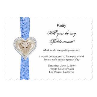 """Tarjeta azul de la dama de honor del boda del invitación 5"""" x 7"""""""