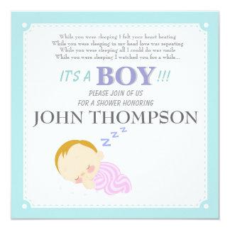 """Tarjeta azul de la decoración del bebé el dormir invitación 5.25"""" x 5.25"""""""