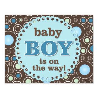 """Tarjeta azul de la ducha del bebé de los lunares invitación 4.25"""" x 5.5"""""""