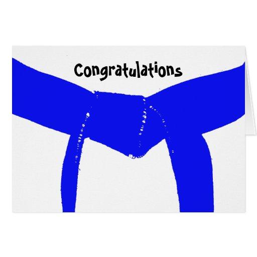 Tarjeta azul de la enhorabuena de la correa de los