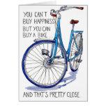 Tarjeta azul de la felicidad de la bici