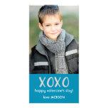 Tarjeta azul de la foto de la tarjeta del día de S Tarjeta Con Foto Personalizada