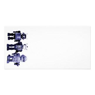 tarjeta azul de la foto de los robots tarjeta personal con foto