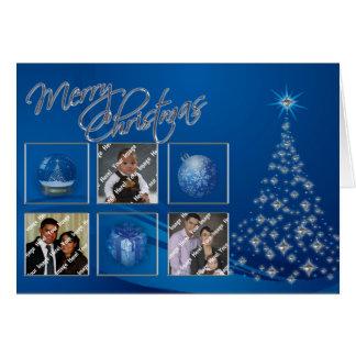 Tarjeta azul de la foto del árbol de navidad